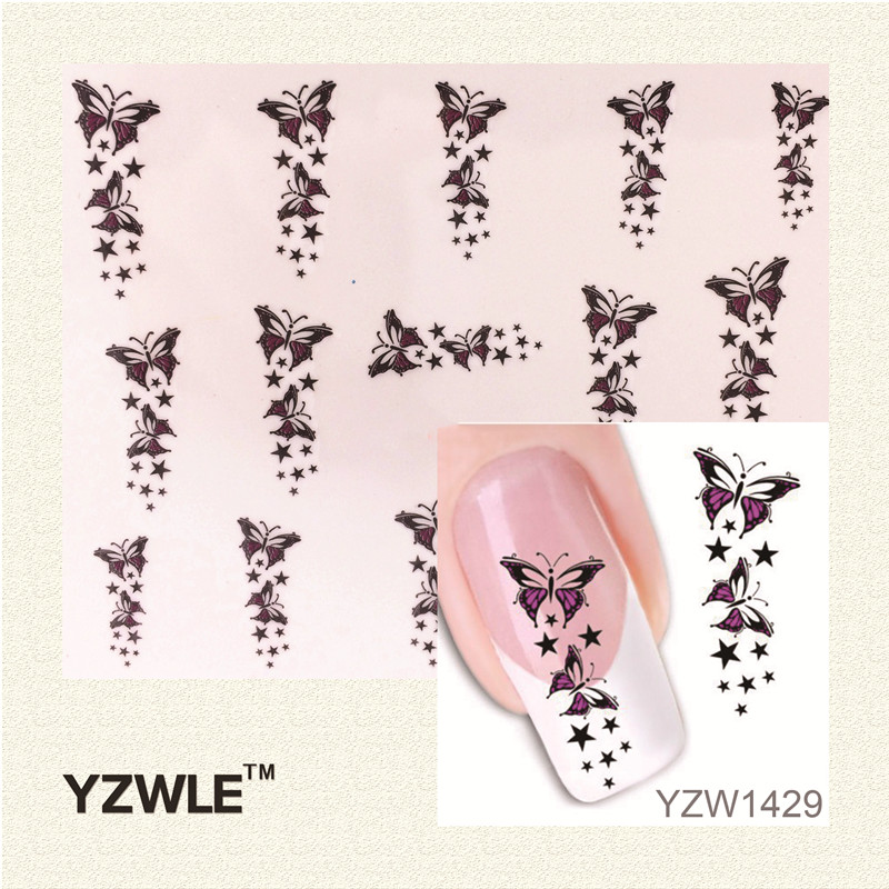1 Sheet Nail Art Water Tattoo Design Manicure Flowers Water Transfer Decals