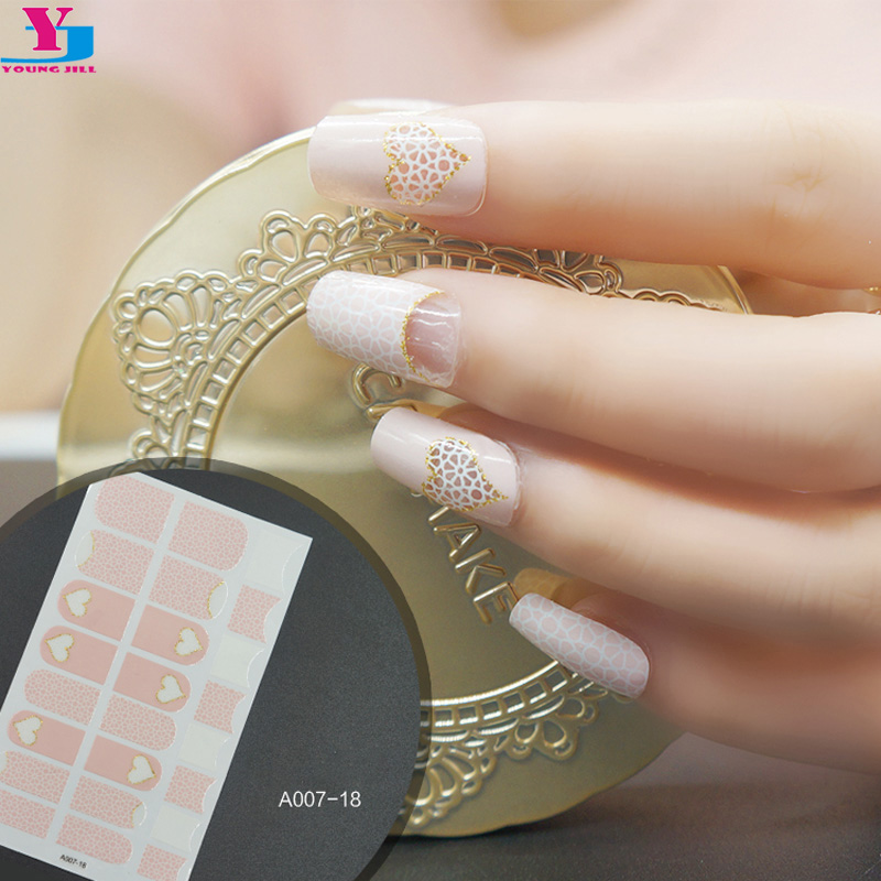 New Arrive Adesivos Sticker Heart Glitter French 3D Nail Wraps Full ...