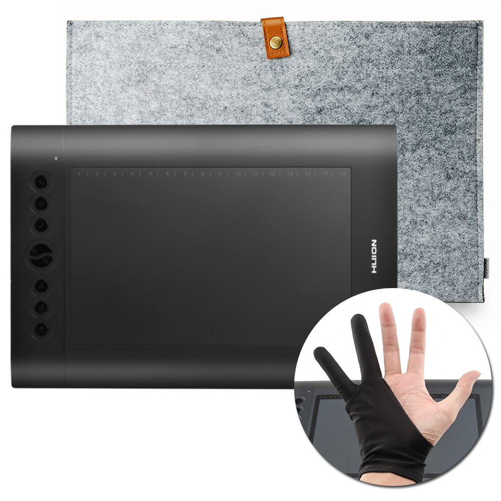 Original HUION H610 Pro Graphics Drawing Tablet Digital Tablets + Anti-fouling Glove + 15 Inch Wool Felt Liner Bag
