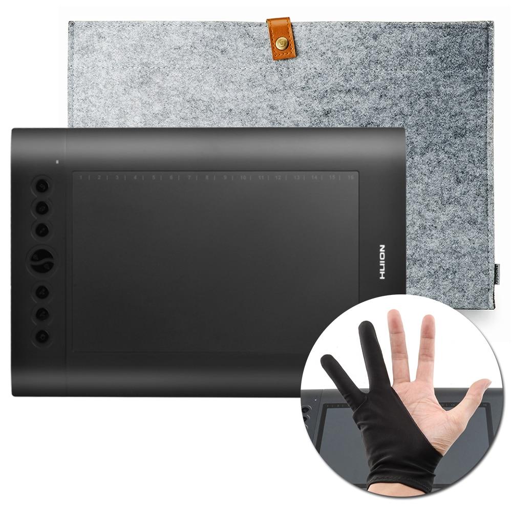 Original HUION H610 Pro Professional Graphics Drawing Tablet Digital Tablets + Anti-fouling Golve + 15Inch Wool Felt Liner Bag wool felt cowboy hat stetson black 50cm