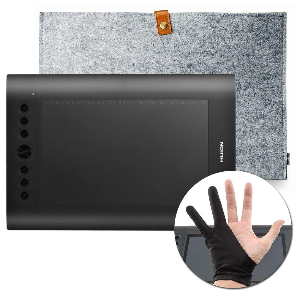 Originale HUION H610 Pro Grafica Disegno Tablet Compresse + Anti-fouling Digitale Guanto + 15 pollice Feltro di Lana Fodera borsa