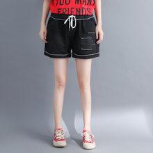 562d118bd0 Moda Mediados de cintura Shorts vaqueros de las mujeres del remiendo pantalones  cortos para mujer negro Loose tamaño grande Deni.