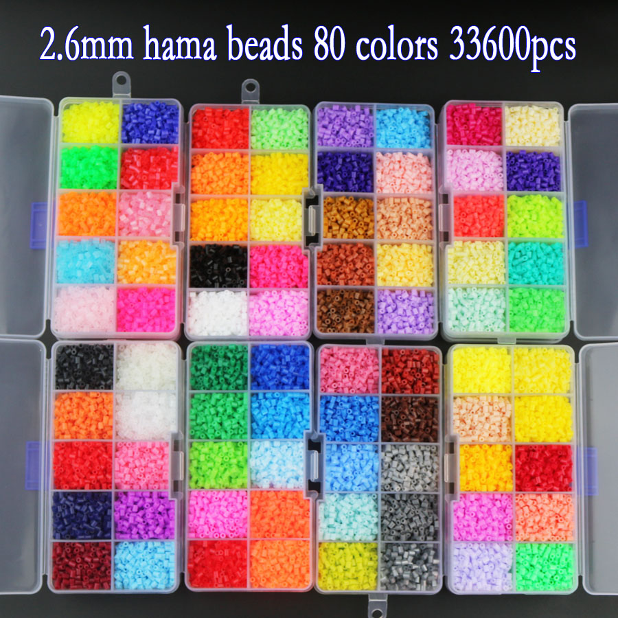 Perler Beads Box packaging of 2.6mm Hama Beads for Children Educational jigsaw puzzle DIY Toys Fuse Beads not contain Pegboard