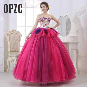 Cheap Colorful Organza Colored Wedding Dress 2017 Strapless New Korean Style Pink Princess Bride Boat Gowns vestido de noiva - DISCOUNT ITEM  25% OFF Weddings & Events