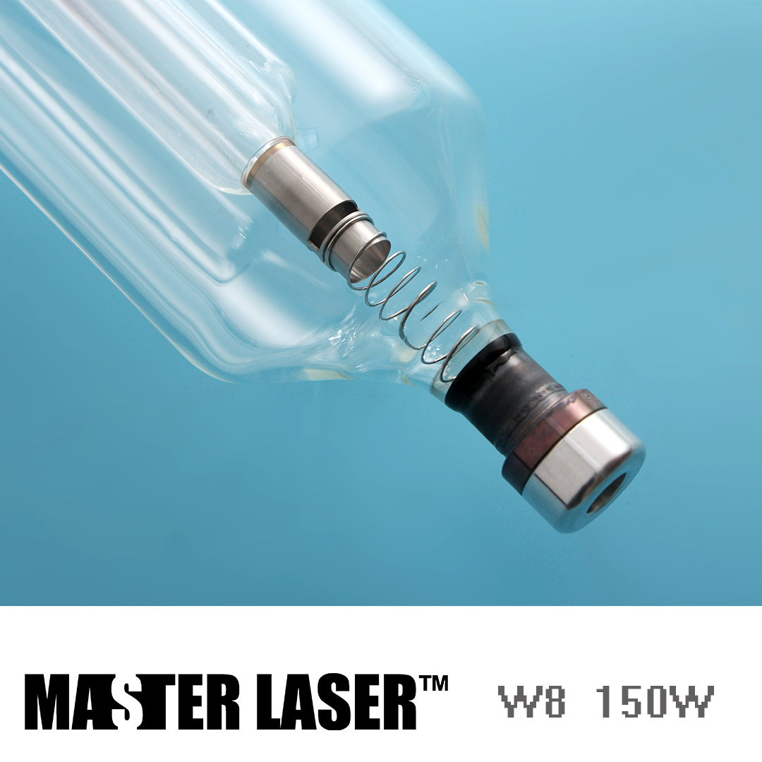 hight resolution of reci co2 glass laser tube w8 150w peak power 180w for metal laser cutting machine