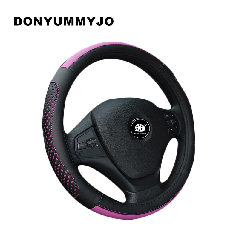 DONYUMMYJO Micro Fiber Leather Hole Steering <font><b>Wheel</b></font> <font><b>Cover</b></font> <font><b>Women</b></font> Fuzzy Steering <font><b>Wheel</b></font> <font><b>Cover</b></font> Diameter 38CM Anti-slip <font><b>Car</b></font> Styling image