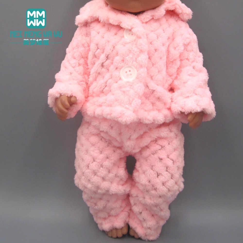 Детская Одежда для куклы 45 см, американская кукла и аксессуары для новорожденной куклы, модный розовый плюшевый Пижамный костюм, куртка + брюки