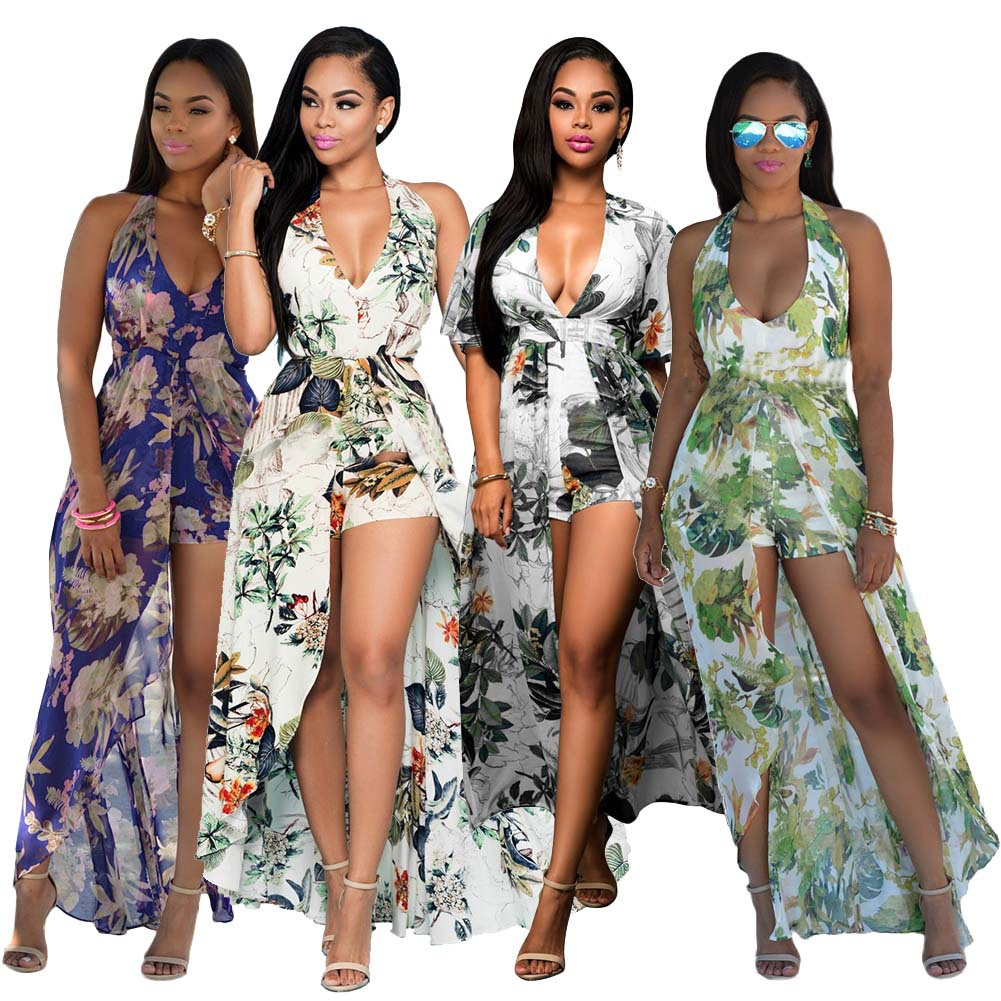 Beach Long Jumpsuit Plus Size Chiffon Summer Women Jumpsuit printing Sexy  Casual Vintage Irregular Maxi jumpsuit S-3XL