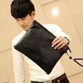 Men's PU Leather Clutch Bag Black Leisure Envelope Bag Business Fashion Weaving Bag  File Package Portable Wrist Bag