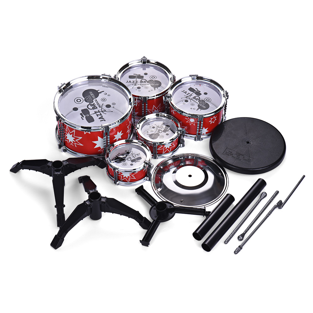 children kids jazz drum set kit educational instrument toy 5 drums 1 cymbal with small stool. Black Bedroom Furniture Sets. Home Design Ideas