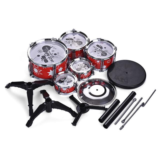 Children Kids Jazz Drum Set Kit Educational Instrument Toy 5 Drums