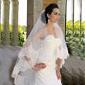 2016 New Style Hot Selling White Tulle Appliques 3 Meters Long Elegant Bridal Wedding Veils Lace Veil