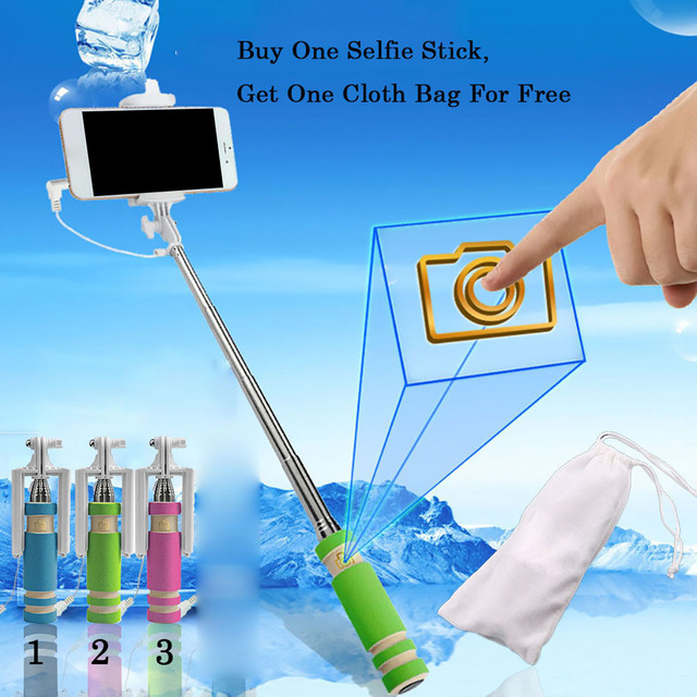 Button Wired Sponge Handle Mini Phone Selfie Stick Extendable Fold Smartphone Self-portrait Monopod
