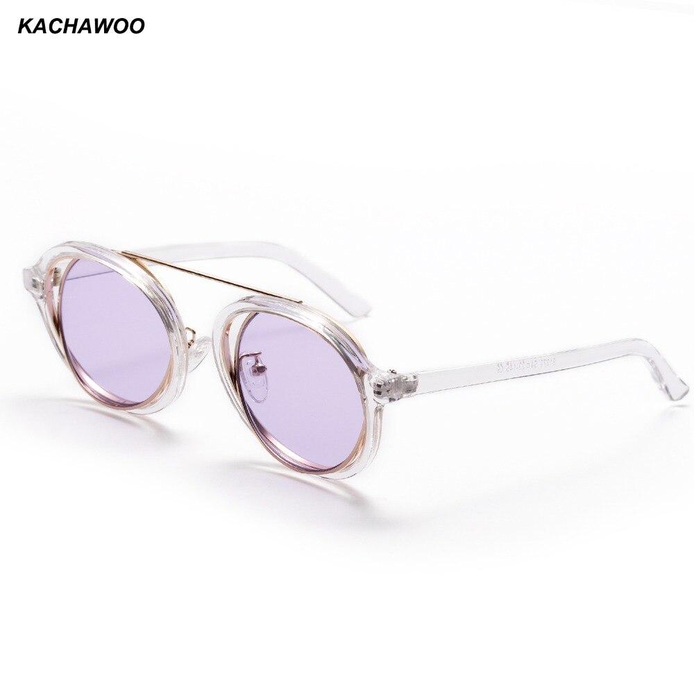 4d92f9b2a18 Kachawoo vintage round sunglasses male metal transparent frame purple black  retro sun glasses female 2018 UV400-in Sunglasses from Apparel Accessories  on ...