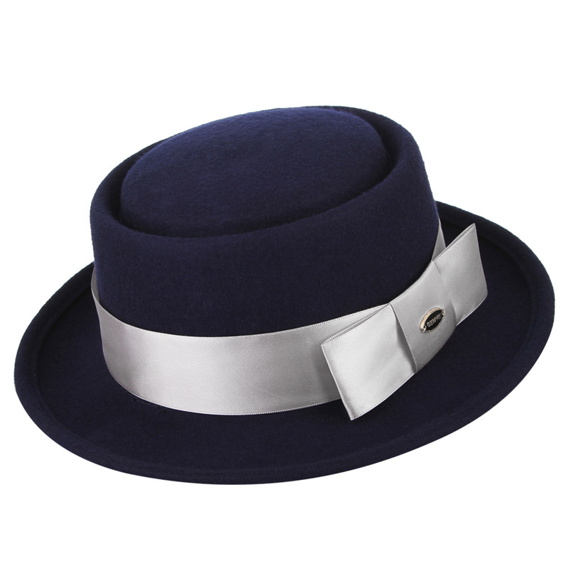 100% Wool Felt Hats Fedoras for Men Women Classical Flat top Curved Brim Jazz Cap Fashion Ribbon Fedora Hat With Box