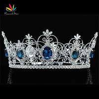 Peacock Star Pageant Prom Accessories Full Circle Tiara Blue Crystal King / Queen Crown CT1720