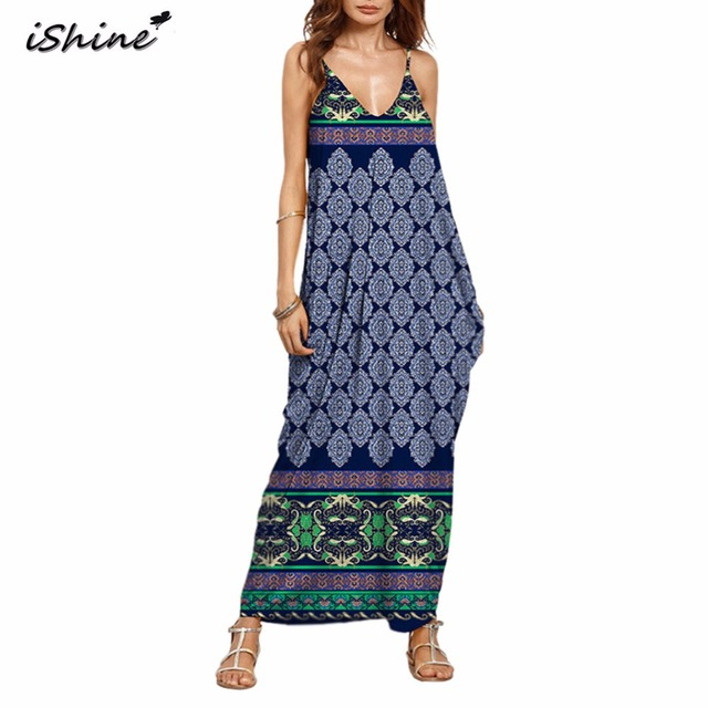 Bohemian summer floral print v-neck maxi dress