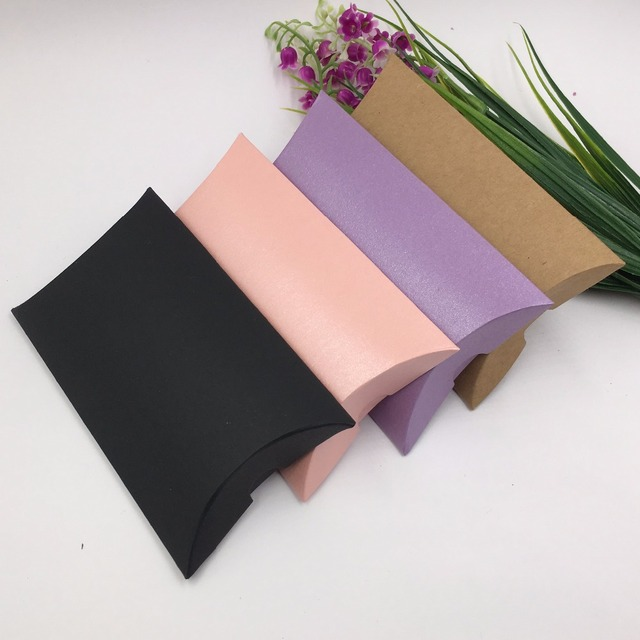 50pcs Paper WeddingParty Gift BoxesPaper Pillow Packing Candy