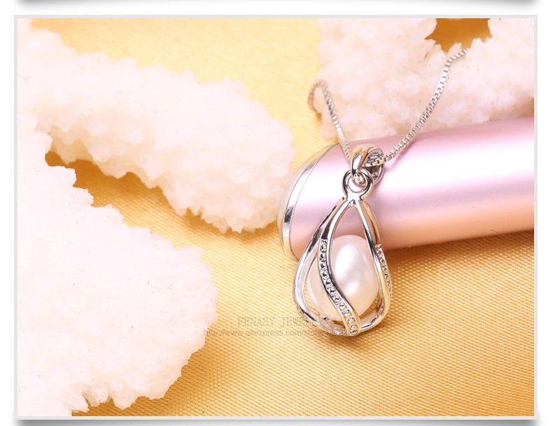 FENASY Natural Freshwater Pearl Pendant Cage Necklace Fashion 925 Sterling Silver Boho Statement Necklace Pearl Jewelry