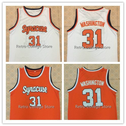timeless design 756d9 9faed US $33.99 15% OFF|31 Dwayne Pearl Washington Syracuse Orange 1991 College  retro Throwback Men's Basketball Jersey Stitched any Number and name-in ...