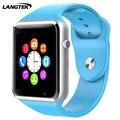Langtek bluetooth smart watch aw01 sport reloj de pulsera para teléfonos android con soporte de la cámara tarjeta sim tf inteligente mujeres pulsera
