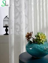 Torrent Hilo de Algodón Jacquard Tijera Textura Super Suave Cortina de Ventana Dormitorio Floral Cortinas de Tul Cortinas Para la Sala de estar