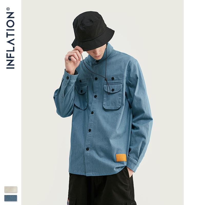 INFLAITON 2019 Autumn Men Streetwear Shirt Oversized Japanese Harajuku Hip Hop Long Sleeve Shirt Men's Cotton Shirt 92106W