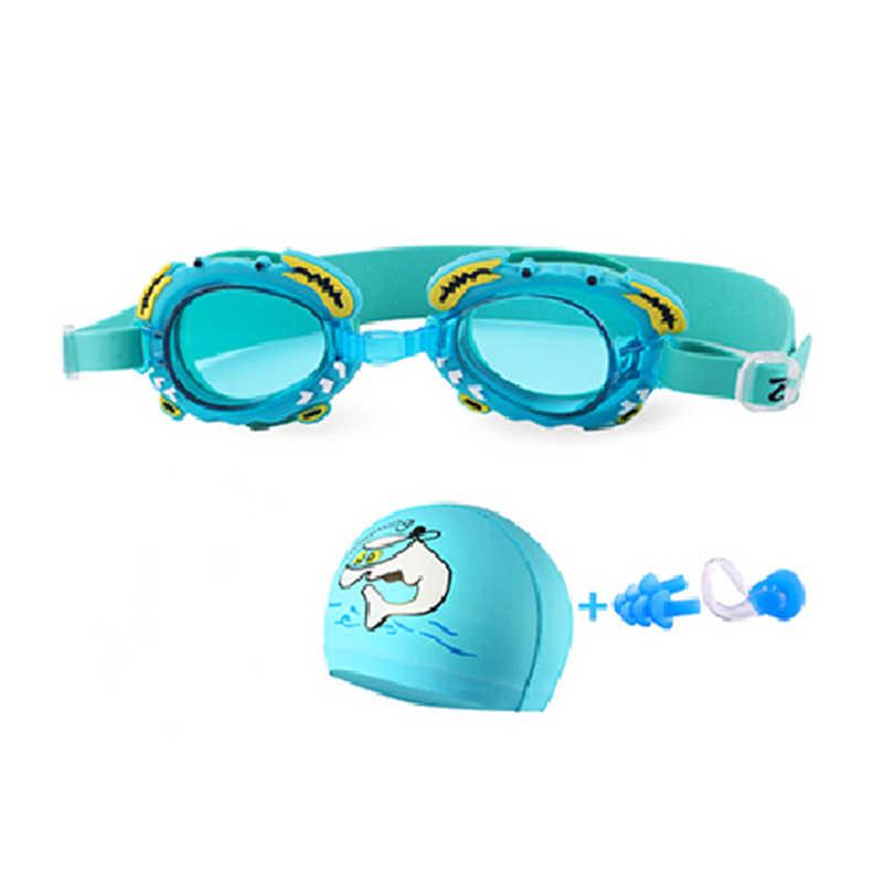 新しい子供の水泳ゴーグル防曇子供イルカ水泳キャップセット眼鏡漫画カニ水ゴーグルアリーナ水泳メガネ