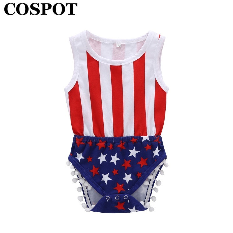 COSPOT 2018 Rush Sales Baby July 4th Bodysuit Stars Stripes Summer Jumpsuit for 4th July Bebes Kids Baby Boy Girl Clothes 30E