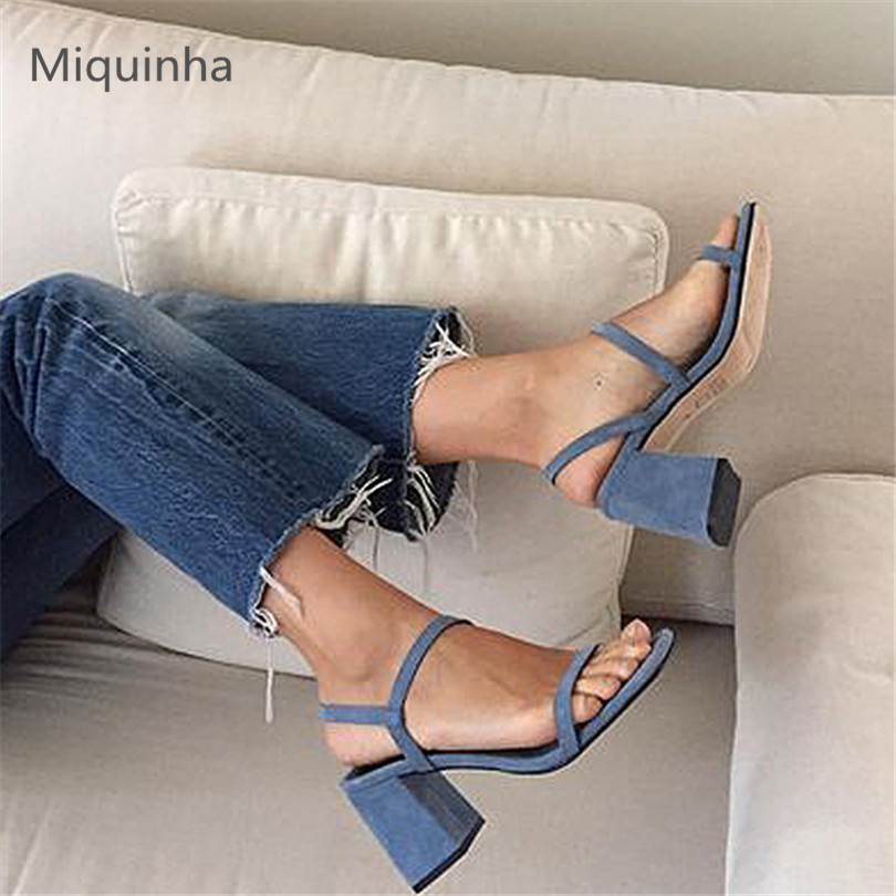MIQUINHA Summer Fashion Casual Shoes Women Sandalia Feminina Open Round Toe Buckle Strap Square Heel Shoes Sexy Ladies Sandals  miquinha summer fashion casual shoes women sandalia feminina open round toe buckle strap square heel shoes sexy ladies sandals