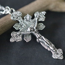Jesus Christ Religion God Cross Pendants Necklaces Christian Antique Silver  Charm Necklace New Fashion Jewelry