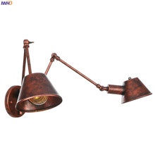IWHD 2 Heads Loft Style Vintage Wall Lamp Bedroom Bathroom Retro Swing Long Arm Wall Light Lampara Pared Luminaire Lighting iwhd vintage glass lampara pared creativeretro iron loft wall lamp black bedroom lighting stairs beside reading light fixture