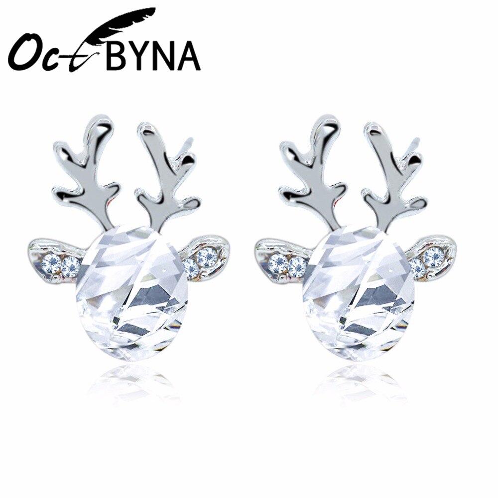Octbyna Hot Sale Fashion Elegant Christmas Crystal Deer Earrings Sparkling Rhinestone Ear Stud For Women Girls Jewelry