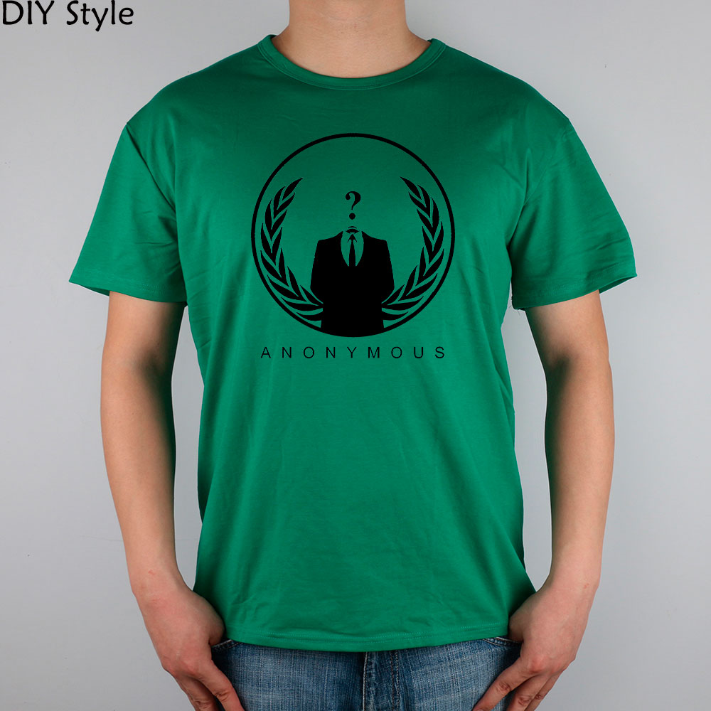 ANONYMOUS QUESTION MARK HACKER short sleeve T-shirt Top Lycra Cotton Men T shirt New DIY Style