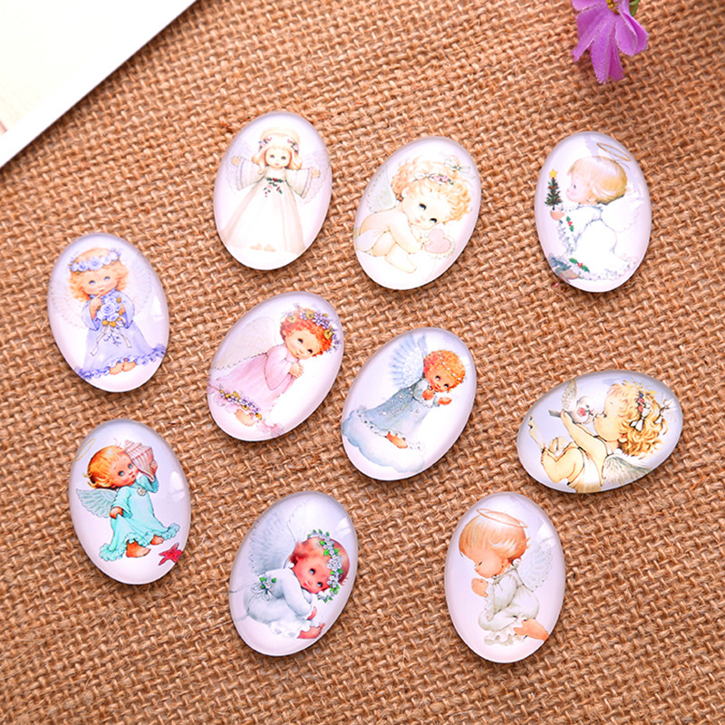 50Pcs Mixed Angels Patterns Oval Glass Dome Seals Cabochons Cameos DIY Embellishments Crafts Findings 18x25mm