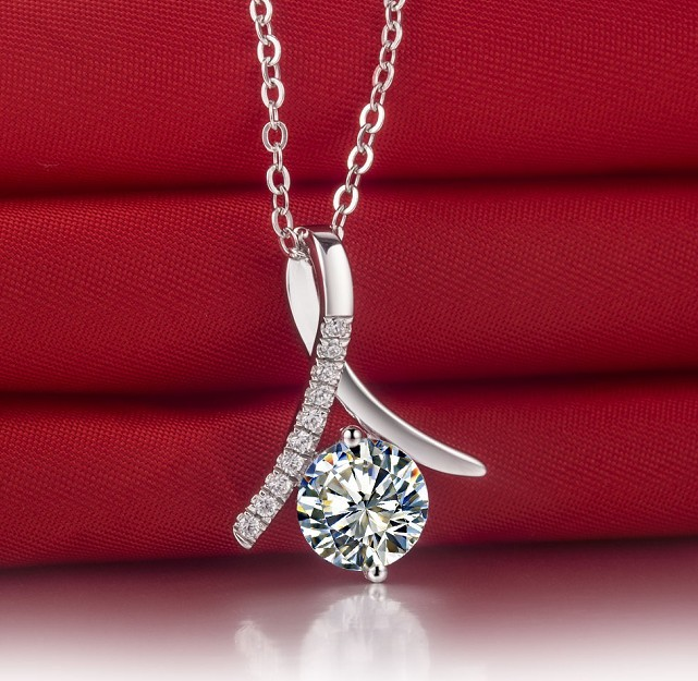 solid from brilliant necklace white non allergenic cut round pendants diamonds carat jewelry finish silver diamond in sterling item synthetic pendant gold