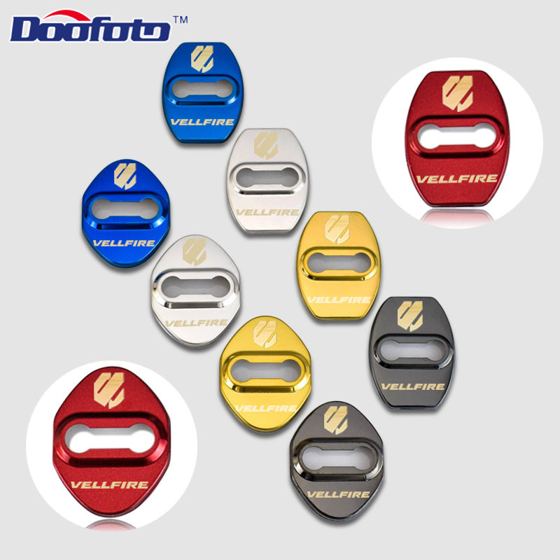 Doofoto Auto Door Stopper Lock Decoration Cover Car Styling Case For Toyota Vellfire Alphard Corolla Chr Camry Badge Accessories