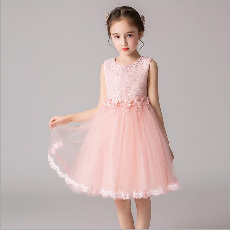 It's YiiYa Kids Party Dresses Beeding O-Neck Tank Flower Girl Dress For Wedding Tulle Knee-Length Communion Dress 2019 BX2823