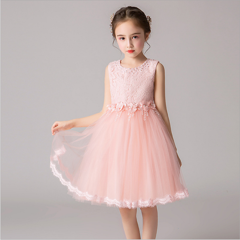 it's YiiYa Kids Party   Dresses   Beeding O-Neck Tank   Flower     Girl     Dress   for Wedding Tulle Knee-Length Communion   Dress   2019 BX2823