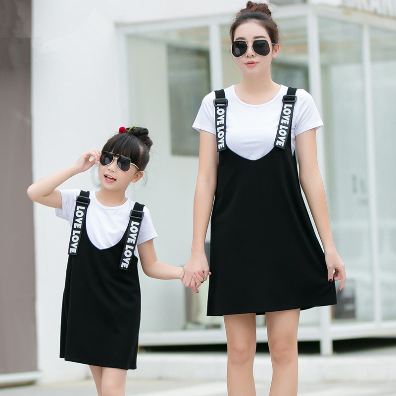 2016 summer dress plus size family look clothing set t-shirt+ dress women girls dress matching mother daughter clothes checcivan family summer t shirts mother