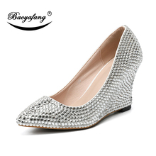 BaoYaFang 2019 NEW ARRIVE Silver Crystal Wedges Pointed Toe Bridal wedding  shoes Woman Bride Fashion Pumps 3b3246791316