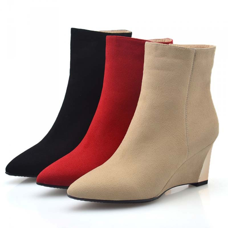 ФОТО platform shoes Pointed Toe Sheepskin women boots wedges Ankle boots for women size wedding winter fashion Martin boots