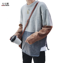 Autumn Stitching Sweater Men Thickening Knitting Sweater Male Loose Personality Hit Color Round Neck Collar Sweater Men