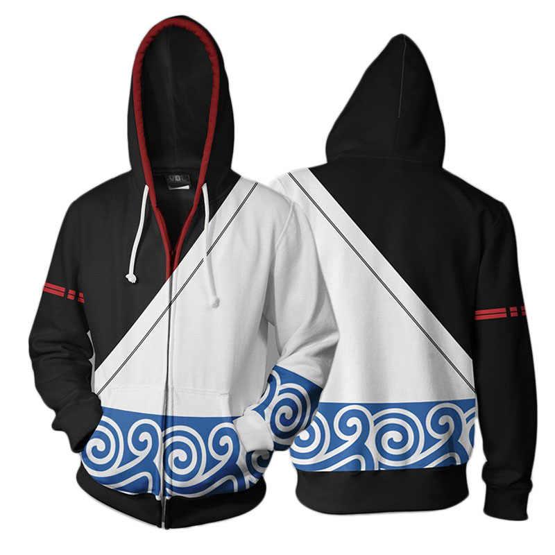Anime Gintama Sakata Gintoki Cosplay Zipper Mit Kapuze 3D Gedruckt Jacke Sweatshirt Streatwear Langarm Winter Mantel Tropfen Verschiffen