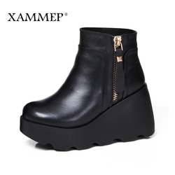 Xammep Women Winter Shoes Genuine Leather Natural Wool Boots Brand Women Shoes High Quality Ankle Boots With Platform High Heel
