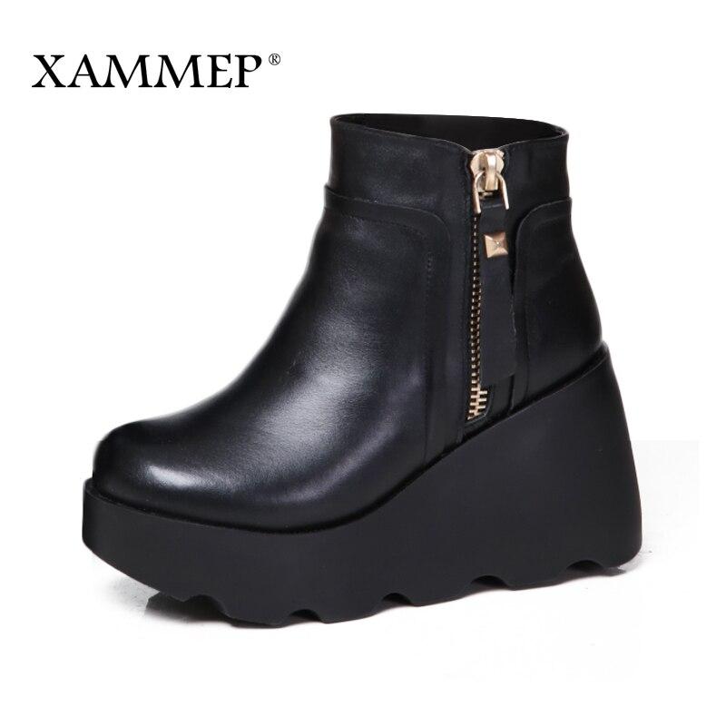 Xammep النساء الشتاء أحذية جلد طبيعي الطبيعي الصوف الأحذية العلامة التجارية النساء أحذية عالية الجودة حذاء من الجلد مع منصة عالية الكعب-في أحذية الكاحل من أحذية على  مجموعة 1