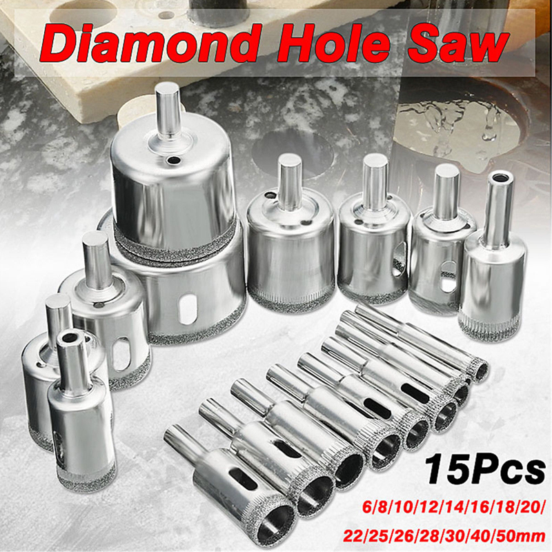 OUTAD New 15pcs Diamond Hole Saw Cutting Tool Drill Bit Set For Glass Ceramic Marble 6-50mm Diamond Coated Drill Bit Set new 50mm concrete cement wall hole saw set with drill bit 200mm rod wrench for power tool