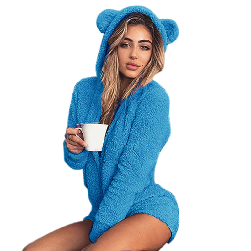 Kawaii Sweet Fleece Hoody Cat Ear Body New   Jumpsuits   Women Solid Lady Cute Shorts Rompers Playsuit Home Service   Jumpsuits   M0003
