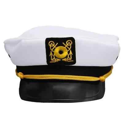9c0ce318b 2018 New White Deluxe Captain Hat Sea Marine Adjustable Peaked Cap Sailor  Military Fancy Dress Accessory Costume Fashion Hot