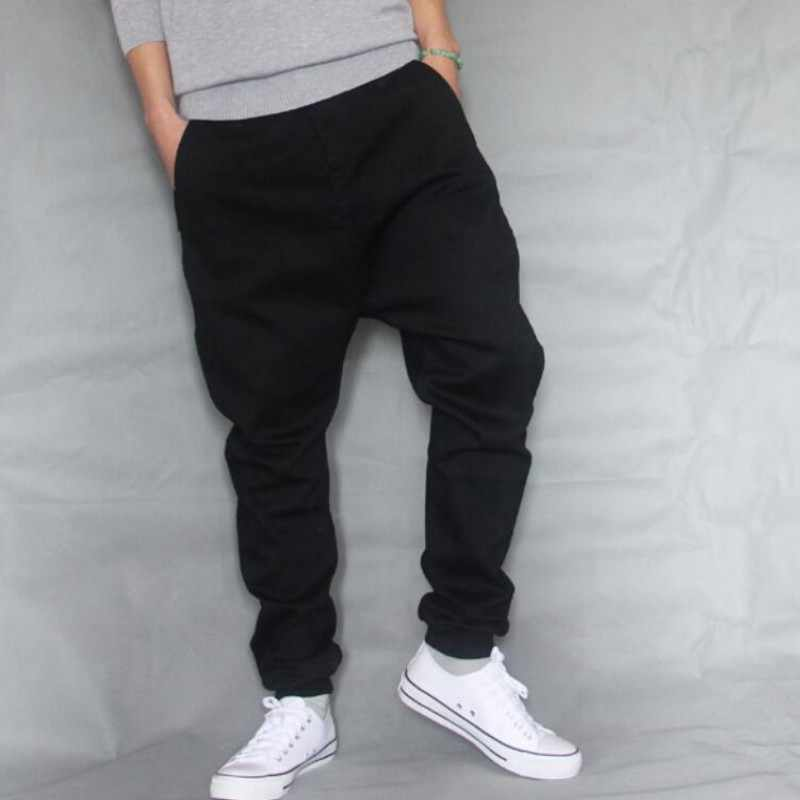Hip Hop Baggy Denim Sincap pantolon Erkek Düşük Kasık Kaykay kot Erkek Gevşek Harem koşucu pantolonu Siyah Streç Pantolon A60508